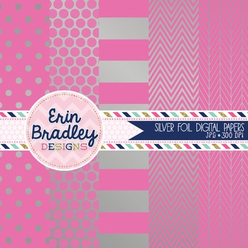 Digital Papers - Silver Foil and Pink