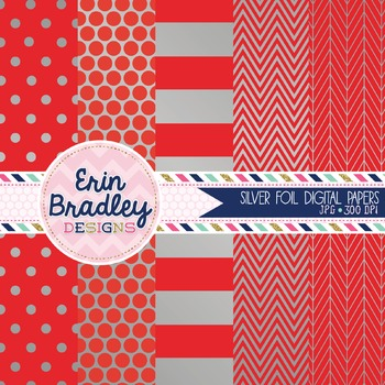 Digital Papers - Silver Foil and Red