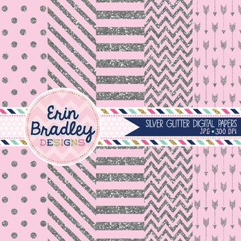 Digital Papers - Silver Glitter and Light Pink