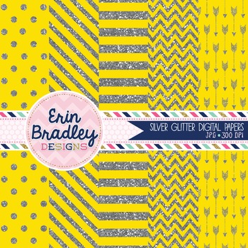 Digital Papers - Silver Glitter and Yellow