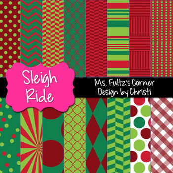 Digital Papers: Sleigh Ride Christmas Red and Green
