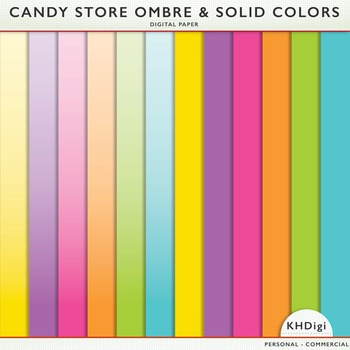 Digital Papers - Solids and Ombre - Candy Store
