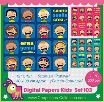 Digital Papers Sonríe Sueña Crea Eres genial seamless patt