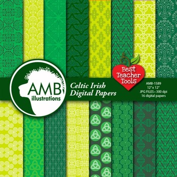 Digital Papers, St. Patrick's Day, Celtic, Irish Papers an