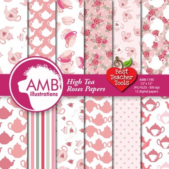 Digital Papers, Tea Party Party, Valentines Day Digital Pa