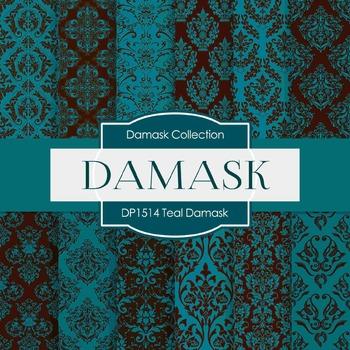 Digital Papers -  Teal Damask (DP1514)