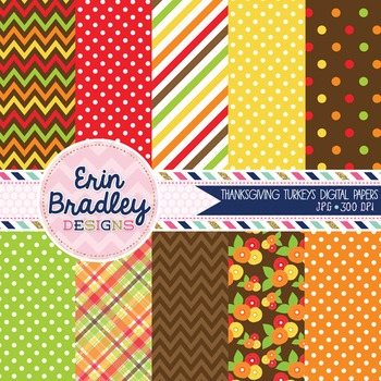 Digital Papers Thanksgiving Holiday Red Orange Brown Yello