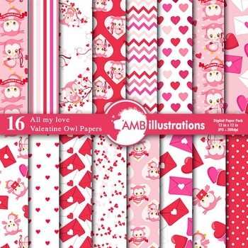 Digital Papers, Valentines Day Digital Paper, Owls Papers,