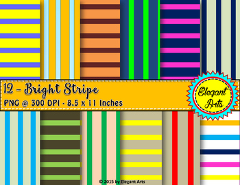 Digital Papers - Vertical Stripes with Colorful Backgrounds