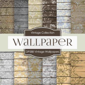 Digital Papers - Vintage Wallpapers  (DP588)