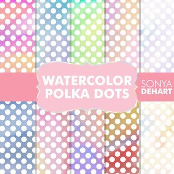 Digital Papers - Watercolor Polka Dots Patterns
