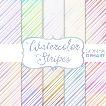 Digital Papers - Watercolor Stripes Patterns