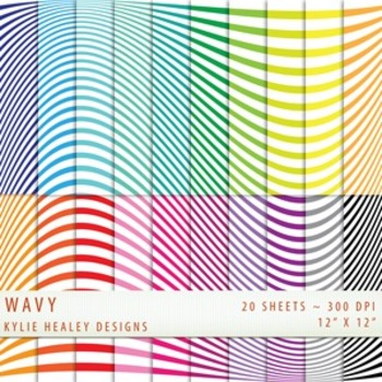 Digital Papers - Wavy Lines  - Bold and Bright Collection