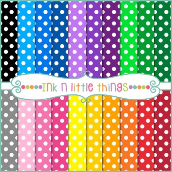 Digital Papers - Colorful White Dots Digital Papers