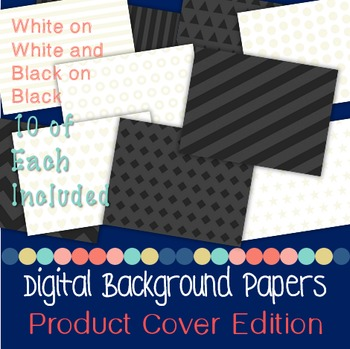Digital Papers White on White and Black on Black