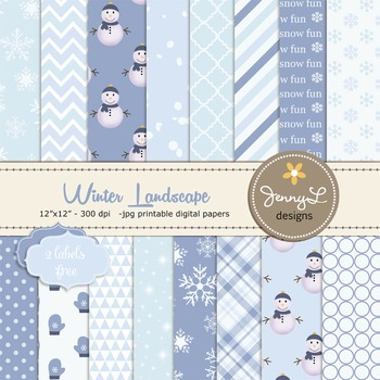 Snowman Christmas Digital Papers