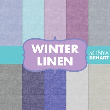 Digital Papers -  Winter Linen Jute Burlap Fabric Textures