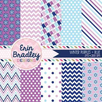 Digital Papers - Winter Purples and Blues