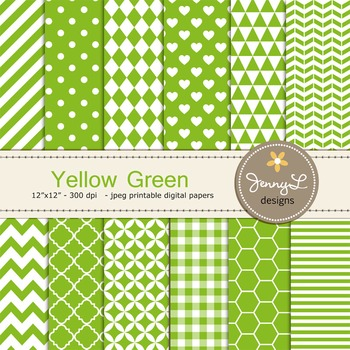 Digital Papers : Yellow Green