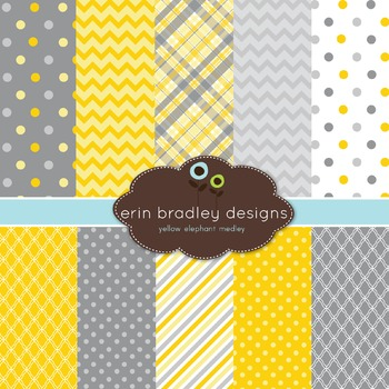 Digital Papers - Yellow and Gray