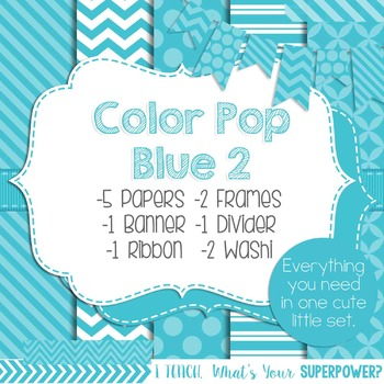 Digital Papers and Frames Color Pop Blue 2