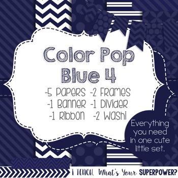 Digital Papers and Frames Color Pop Blue 4