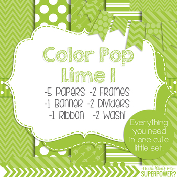 Digital Papers and Frames Color Pop Green 1