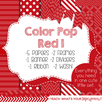 Digital Papers and Frames Color Pop Red 1