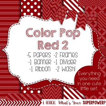 Digital Papers and Frames Color Pop Red 2
