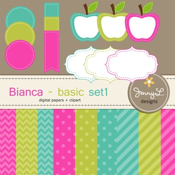 Digital Papers and Label Cliparts Basic Set 1, Teacher Sel