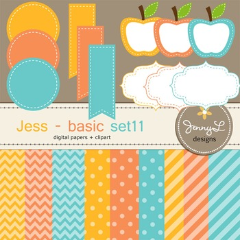 Digital Papers and Label Cliparts Basic Set 11, Teacher Se