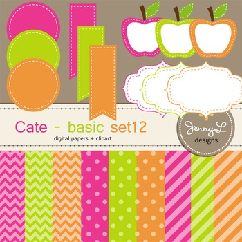 Digital Papers and Label Cliparts Basic Set 12, Teacher Se