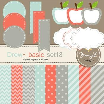 Digital Papers and Label Cliparts Basic Set 18, Teacher Se