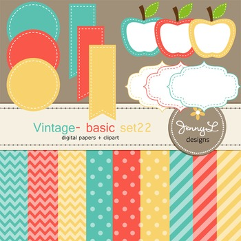 Digital Papers and Label Cliparts Basic Set 22, Teacher Se
