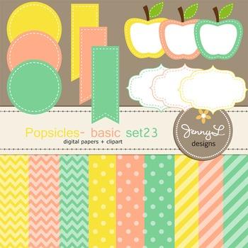 Digital Papers and Label Cliparts Basic Set 23, Teacher Se