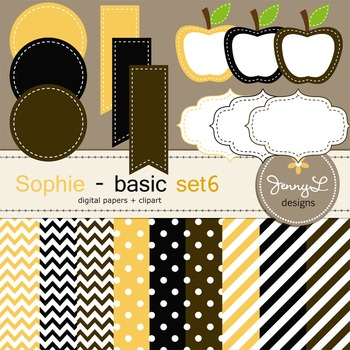 Digital Papers and Label Cliparts Basic Set 6, Teacher Sel