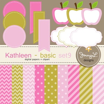 Digital Papers and Label Cliparts Basic Set 9, Teacher Sel