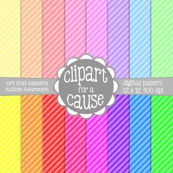 Digital Papers:Colorful 2 Tone Small Diagonal Stripes Scra