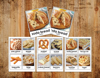 Digital Printable Montessori Matching - Breads of the Worl