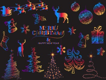 Digital Rainbow Christmas Clip Art Christmas Tree Snowflak