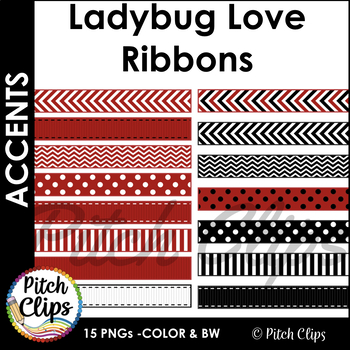 Digital Ribbons: Ladybug Love - 15 ribbons in Red, Black,