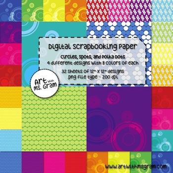 Digital Scrapbooking Paper : Circles, Spots, and Polka Dots