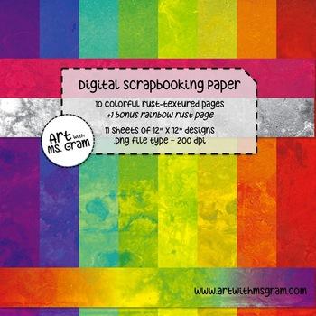 Digital Scrapbooking Paper : Colorful Rust-Textured Design