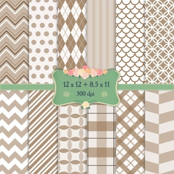 Digital Scrapbooking Paper Irish 12x12 + 8.5x11 Inch Strip
