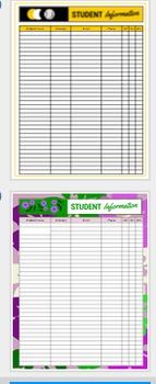 Custom Student Information Sheet, 6 Design Options