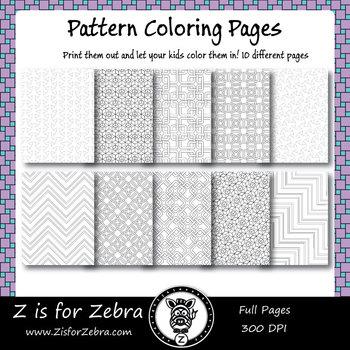 Digital Tessellation Coloring Book -  Full Page Patterns - Set 4