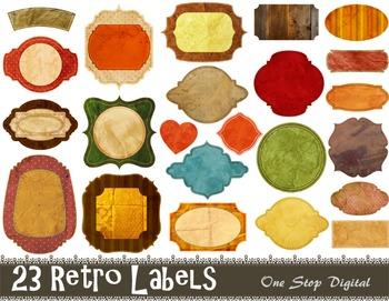 Digital Vintage Frame Clip Art Digital Retro Labels Tags F