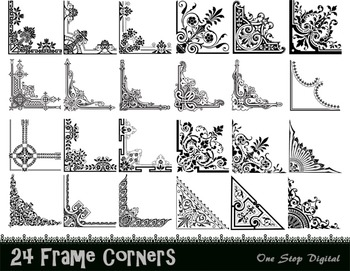Digital Vintage Frame Corner Ornate Flourish Swirl Border