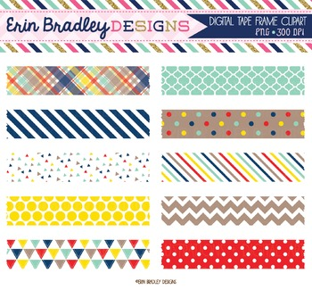 Digital Washi Tape Clipart - Craft Collection