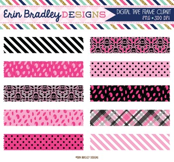 Digital Washi Tape Clipart - Pink and Black
